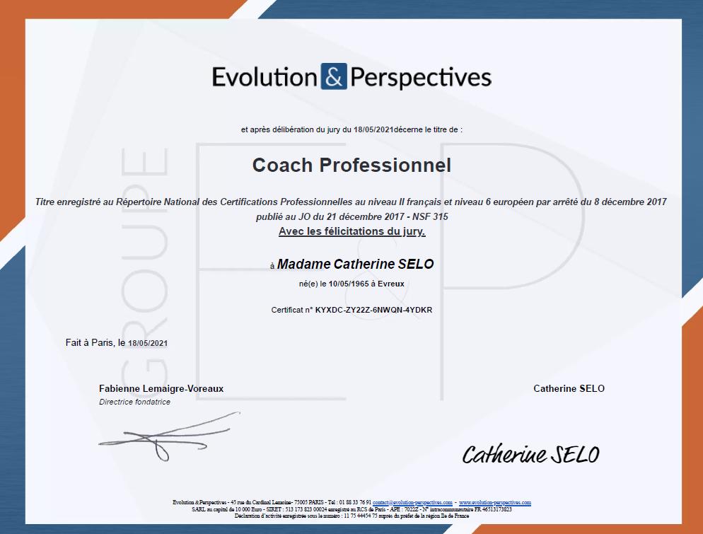 Certification Coach professionnel Catherine Selo